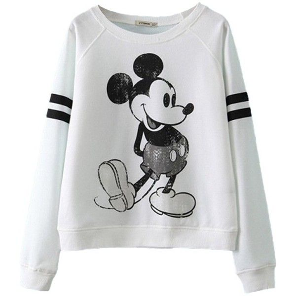 ReliBeauty Cropped Boyfriend Sweatshirt with Cute Mickey Mouse Print featuring polyvore, fashion, clothing, tops, hoodies, sweatshirts, sweaters, shirts, disney, shirts & tops, boyfriend sweatshirt, crop shirts, sweat shirts and boyfriend shirt