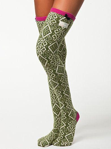 Jaquard Long Sock - Odd Molly - Green - Socks - Underwear - Women - Nelly.com