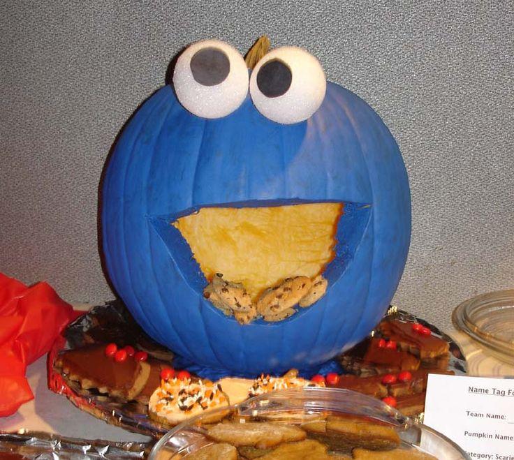 cookie monster pumpkin..Love This idea so cute