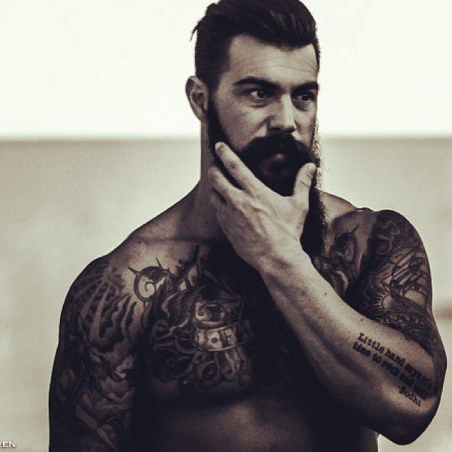 Dave Driskell - full thick dark beard and mustache beards bearded man men tattoos tattooed fitness built crossfit muscles muscular building bearding #beardsforever