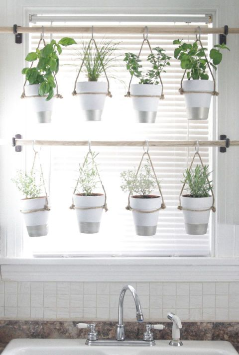 Easily build this hanging herb garden in your kitchen window with wooden rods and curtain rings. You'll love having your herbs readily available for recipes!   Get the tutorial at The Bird and Her Song.
