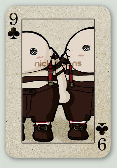Tim Burton's Alice card series. Tweedle Dee & Tweedle Dum.