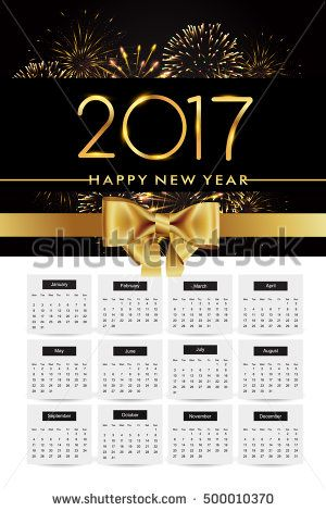 Design Calendar for 2017 on white background, with fireworks and golden ribbon isolated on black background, text design gold colored, vector elements for calendar 2017.