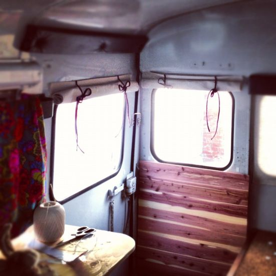cheap and easy roll up curtains for the RV bus conversion, glamping! FreeRangeQuest.com