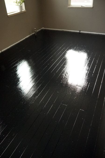 how to paint old wood floors black think i want to try this in our living room to give it an. Black Bedroom Furniture Sets. Home Design Ideas