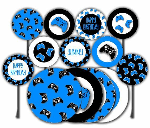 Gaming Party Printable Cake Topper Cupcake Toppers Video # ...