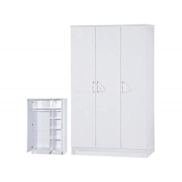 Marla High Gloss White 3 Doors Wardrobe White 3 Door Wardrobe Tall Cabinet Storage High Gloss