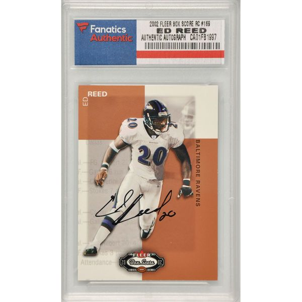 Ed Reed Baltimore Ravens Fanatics Authentic Autographed 2002 Fleer Box Score Rookie #169 Card - $159.99