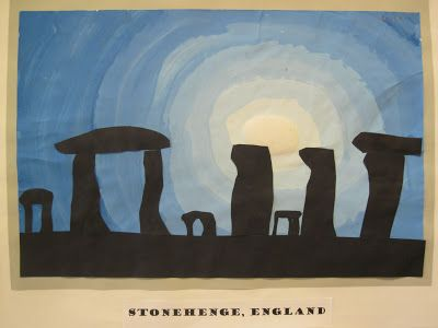 Stonehenge art idea - Stone Age to Iron Age ks2 from http://thisoldartroom.blogspot.co.uk/2012_09_01_archive.html