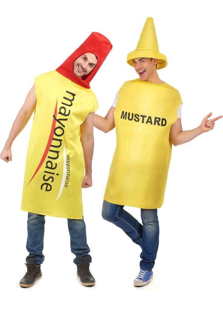 Déguisement de couple mayonnaise et moutarde : Ce déguisement de couple humoristique se compose d'un déguisement de mayonnaise et d'un déguisement de moutarde.- Déguisement Mayonnaise adulteCe...
