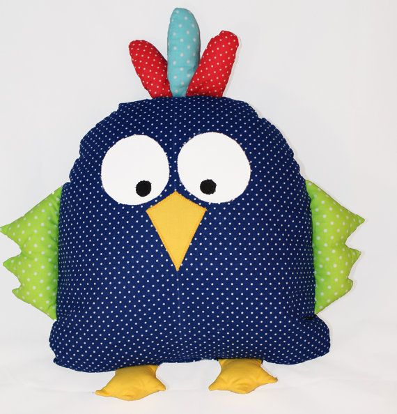 This adorable bird cushion is a great snuggle toy. It's ideal as baby shower gift.  The bird will add fun and character to child's bedroom or nursery.   It can be used as a toy, decorative cushion or pillow to sleep for a child. The back side is completely smooth and comfortable for head.  Children love these pillows and spend with them all day and night.  It's very delicate and soft. Made of 100% hypoallergenic materials.  You can wash it in the washing machine if it gets dirty.