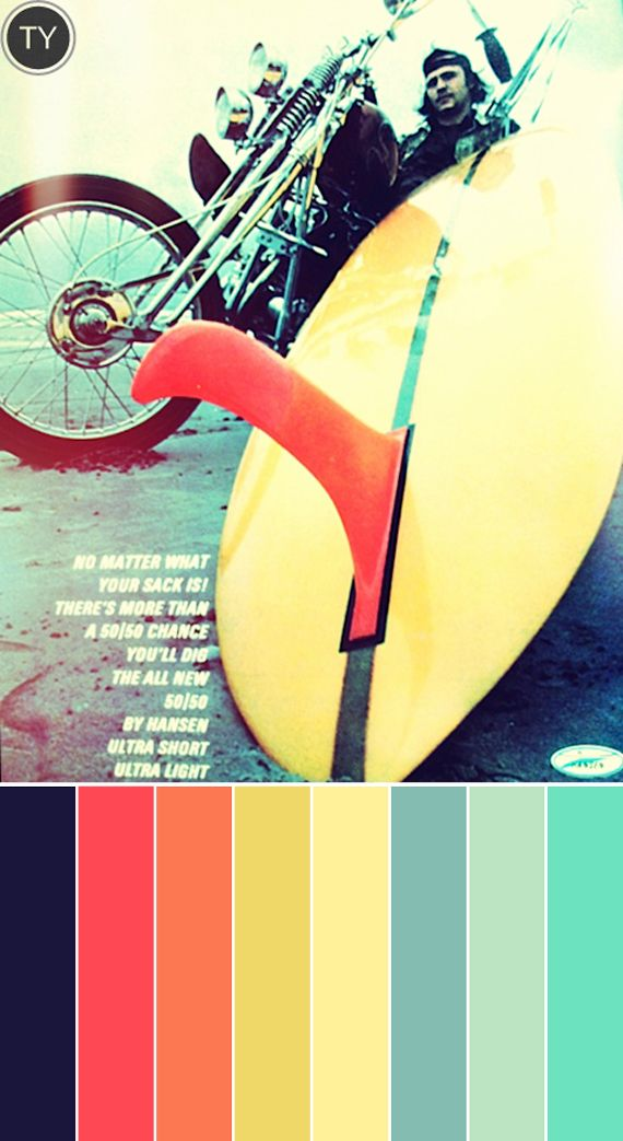 #Color palette inspiration => Vintage Surf Magazines