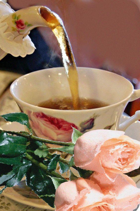 гифка чай в стакане