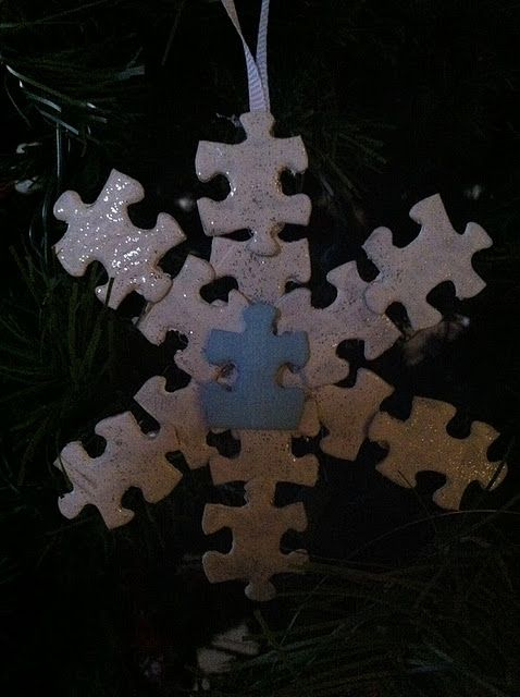autism awareness puzzle piece ornament craft