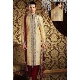Presenting Cream Banarasi Silk #Sherwani with Stone Work Order Now@ http://zohraa.com/officewear-casual-maroon-faux-georgette-and-cotton-premium-kurti-fab-qjkrk29tpdtl-32816.html Rs. 20442.