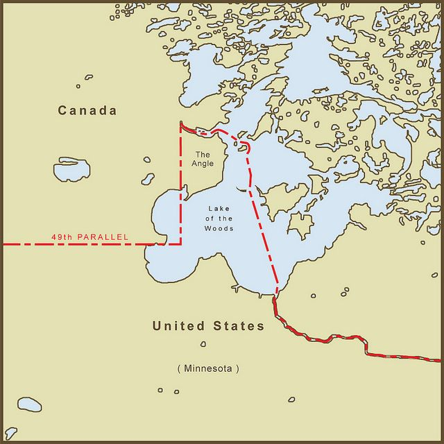 A Map Of The Northwest Angle Border Between The Usa And Canada It
