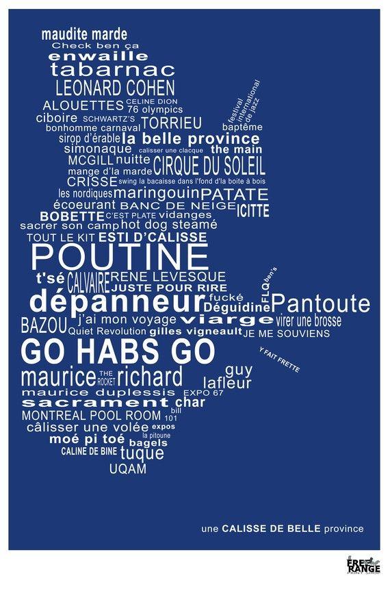 Quebec Une Calisse de Belle Province Print BLUE by suemaheu, $25.00