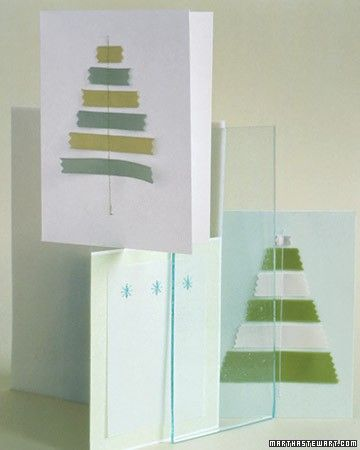 Sewing on paper is a beautiful -- and tidy -- alternative to tape or glue. On these cards, scraps of ribbon in graduating lengths are arranged in the shape of a Christmas tree; the sewn trunk secures them to the paper