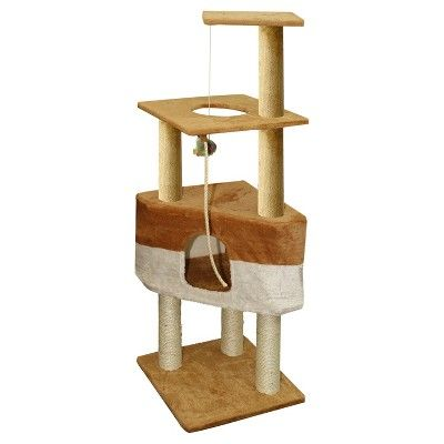 Oxgord Paws & Pals Cat Scratch Tree Condo Furniture 50 - Brown and Tan