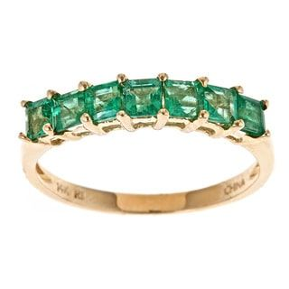D'Yach 14k Yellow Gold Square-cut Zambian Emerald Ring | Overstock.com Shopping - The Best Deals on Gemstone Rings