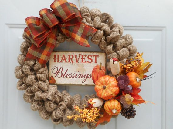 Fall burlap wreath Autumn burlap wreath by ChloesCraftCloset