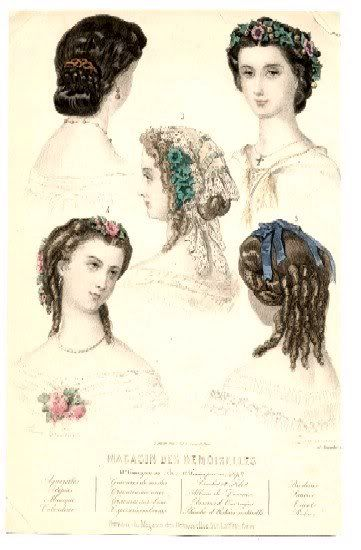1860s evening hair fashion plate, French, from my collection.  Purchased on Ebay.