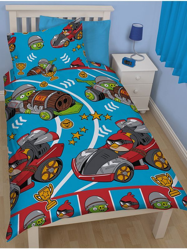 Angry Birds Go Fast Rotary Duvet Cover and Pillowcase Set - Kids Bedroom