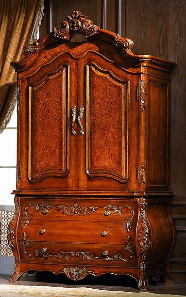 Mahogany 2 Door Carved Armoire Wardrobe Closet wDrawers