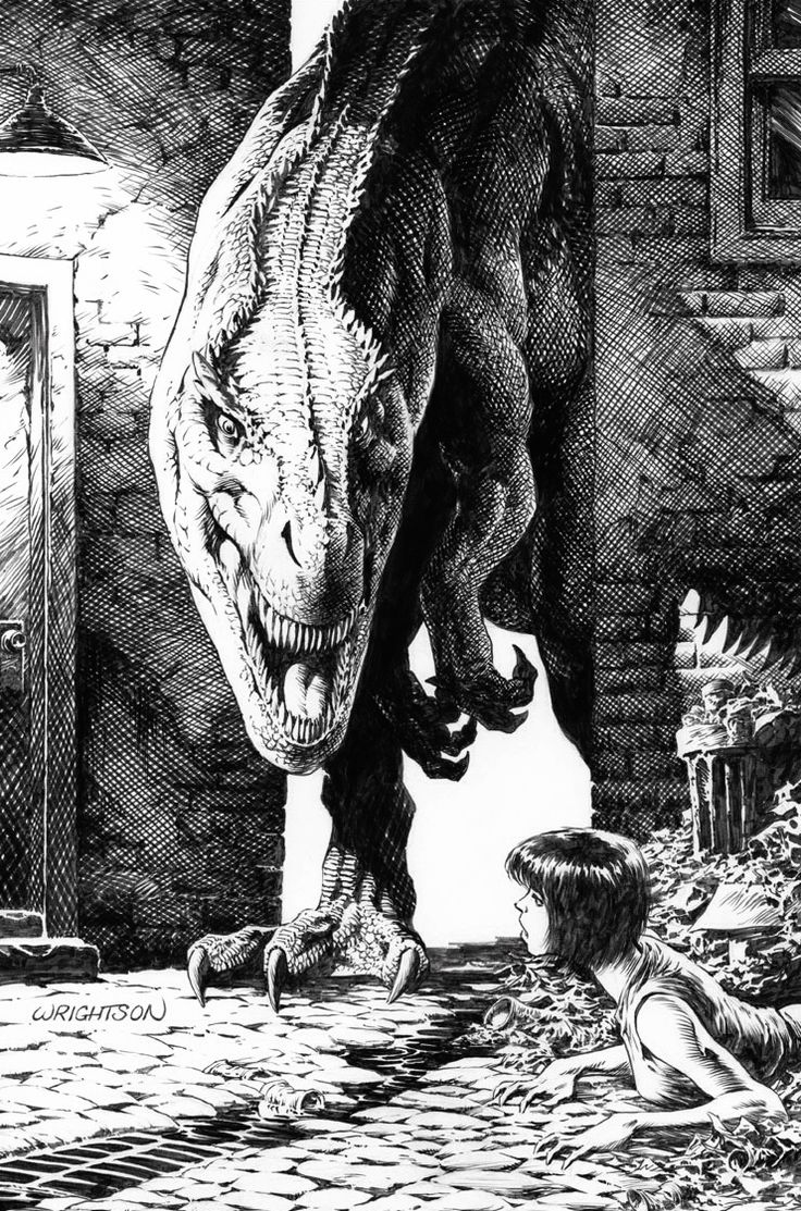 some of Berni Wrightson's black and white artwork.