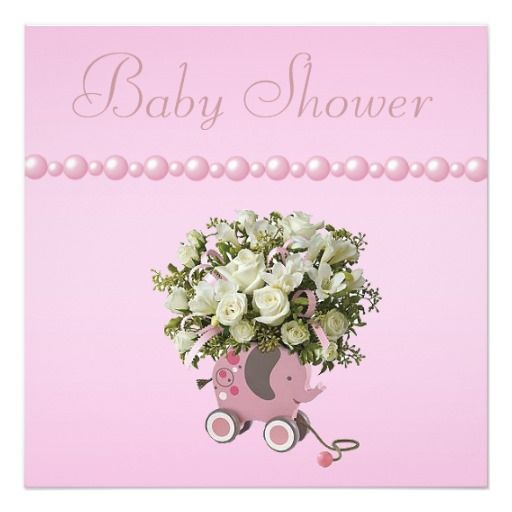 Elephant Toy, Flowers & Pearls Baby Shower Card