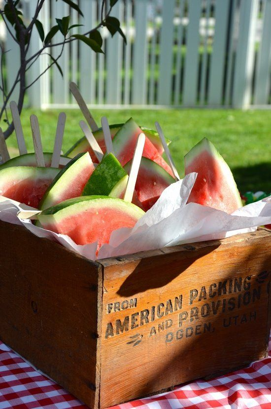 watermelon slices on a stick