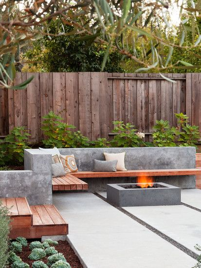 outdoor built in benches, seating, living room, fire pit, fireplace, modern