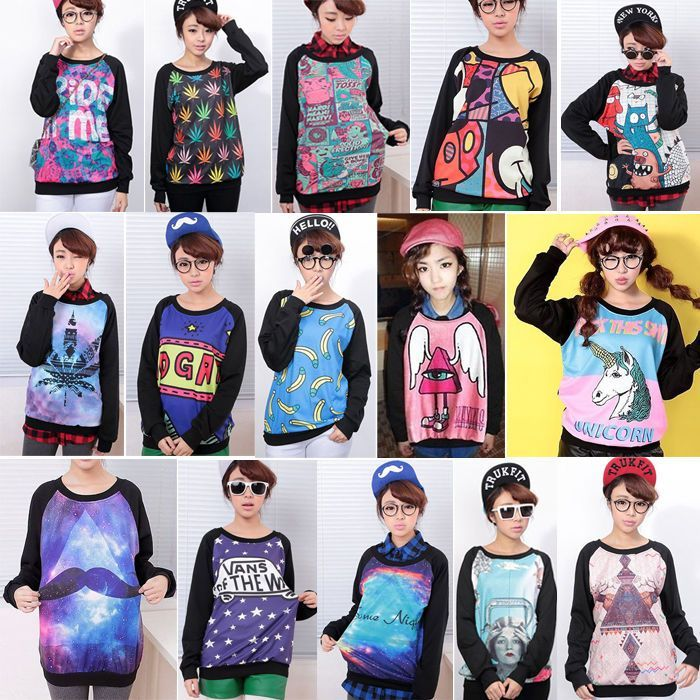 Women Animal Characters Printed Fashion Cartoon Star Sweater Shirt Jumper