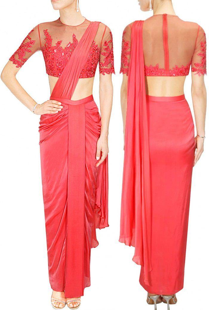 Medha Batra's Red Sheer Floral Embroidered Elbow Sleeve Saree Blouse..  #Red #Sheer #Designer #MedhaBatra