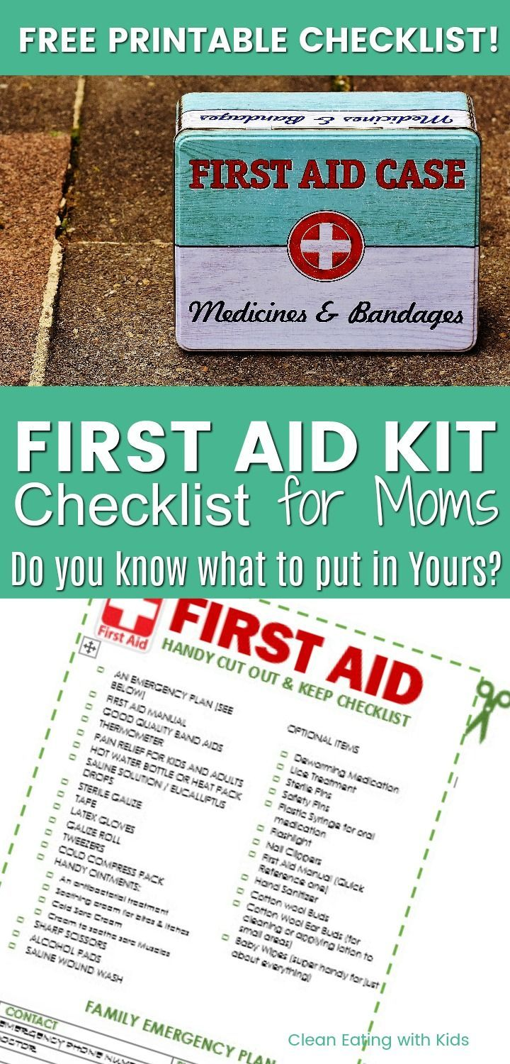 FREE PRINTABLE FIRST AID CHECKLIST FOR MOMS. Do you know what you should keep in yours?