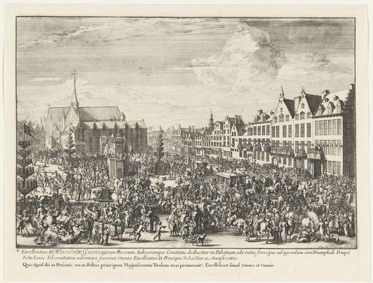 Romeyn de Hooghe | Feest bij de intocht van Leopold I in Brussel, 1686, Romeyn de Hooghe, 1686 - 1687 | Feest bij de intocht van Leopold I in Brussel, 1686. Het plein staat vol met mensen en op de achtergrond is de Onze-Lieve- Vrouw ten Zavel te zien. Er zijn drie hoge palen met vuurwerk opgesteld. Rechts rijden koetsen richting het paleis. Ze worden door de menigte begroet.