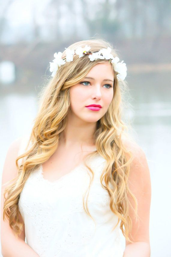 wedding hair down flowers - Google Search