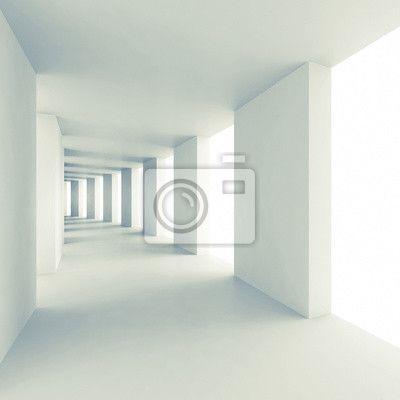 Abstract architecture 3d background, empty white corridor na obrazach Redro. Najlepszej jakości fototapety, naklejki, obrazy, plakaty, poduszki. Chcesz ozdobić swój dom? Tylko z Redro