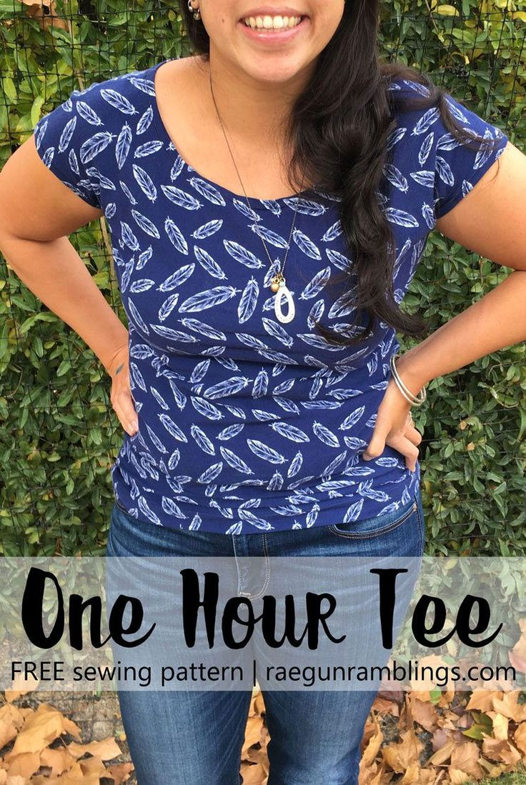 These one hour tees are my favorite shirts love this quick and easy free women's shirt sewing pattern. Easy sew and really versatile.