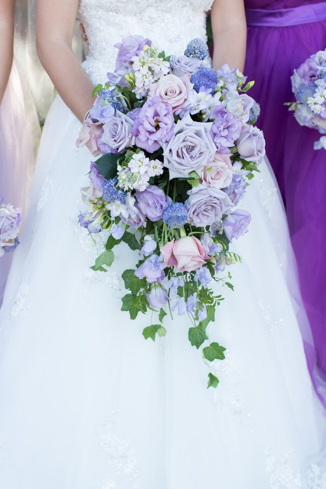 Stunning Purple Rose Cascading Bouquet For The Bride Villasiena