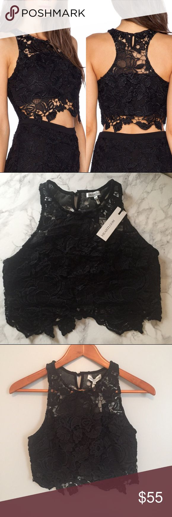 Heartloom lace crop top Beautiful black lace crop top from Heartloom.  New with tags! Measurements happily given upon request!  No trades. Reasonable offers welcome Note: 20% off bundles of 2+ items in my closet! Heartloom Tops Crop Tops