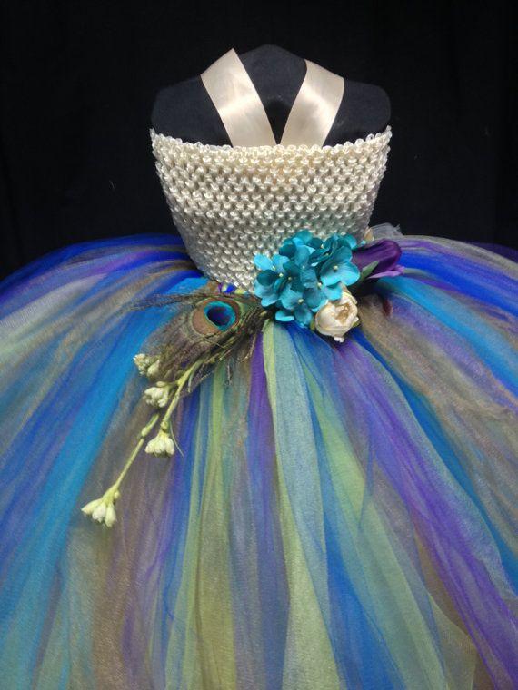 Peacock Flower Girl Dress by Bowsbaublesandbeads on Etsy
