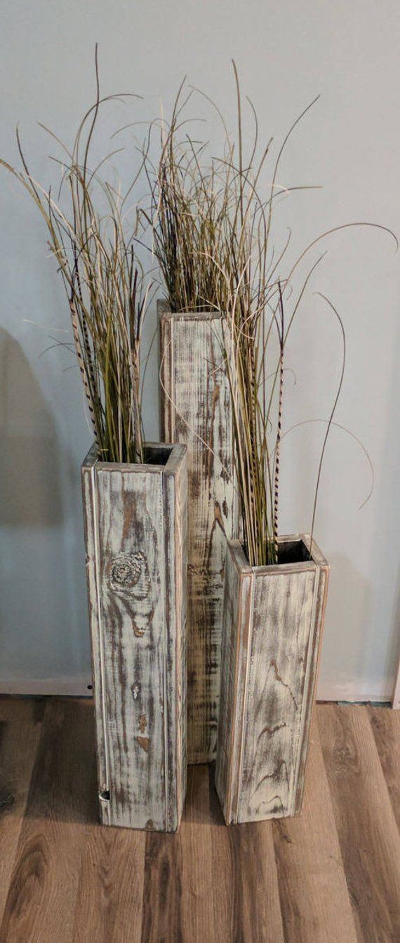 Set Of 3 24 28 32 Rustic Floor Vases Wooden Vases Home Decor