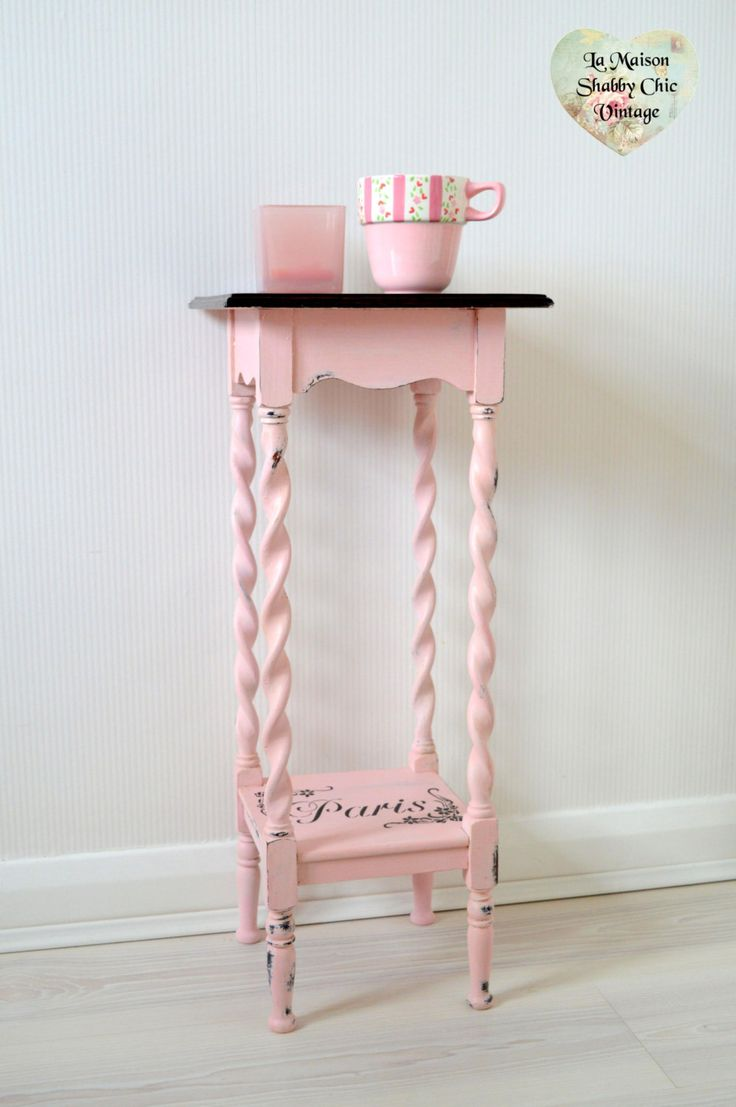Vintage bedside table ideas - Sold Vintage Pink Paris Stencil Bedside Table Unit Plant Stand Storage Wood Mahogany Shabby Chic By