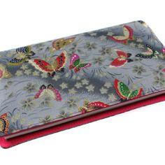 Porte-chéquier en tissu japonais gris et rose modèle papillon pour chéquier souche horizontale