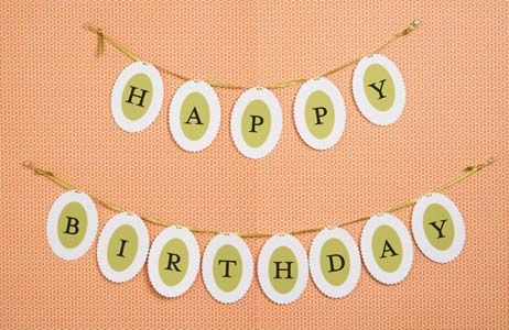 Nice Birthday Bannner   Can be easily customized because all you need is ribbon, scissors, hole puncher ,oval shaped paper ( any colors) , computer & computer label paper to make the letters for  the banner     Happy Birthday Banner