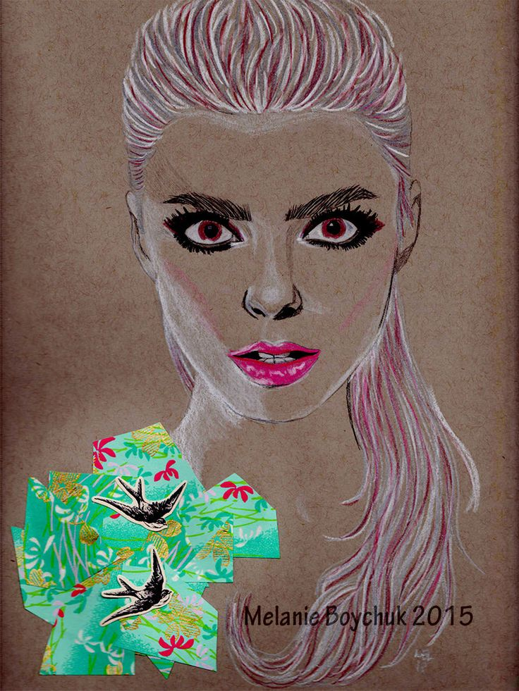 Print of an Original Fashion Illustration - Pencil, Origami Paper, and Pastel Crayons - Floral, Spring, Fashion Art by MelaniaB on Etsy