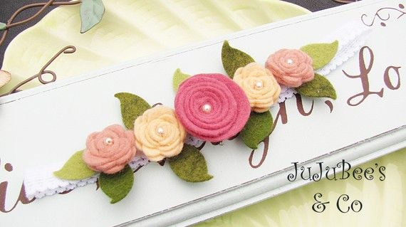 Secret Garden Wool Felt Posies Fairy Headband by JuJuBeesAndCo