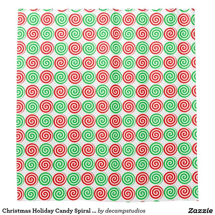 Christmas Holiday Candy Spiral Swirls Red Green Shower Curtain