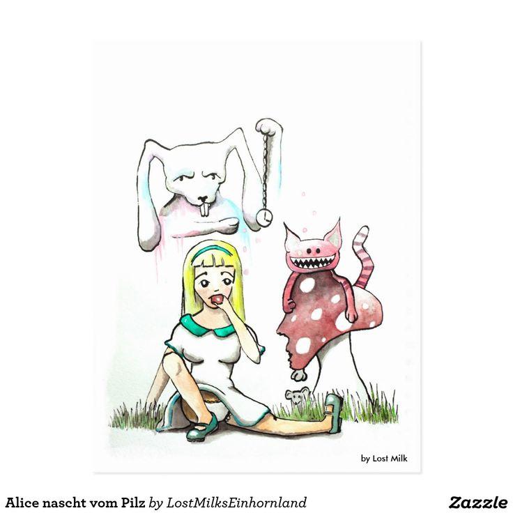 Alice nascht vom Pilz Postkarten #aliceinwonderland #aliceimwunderland